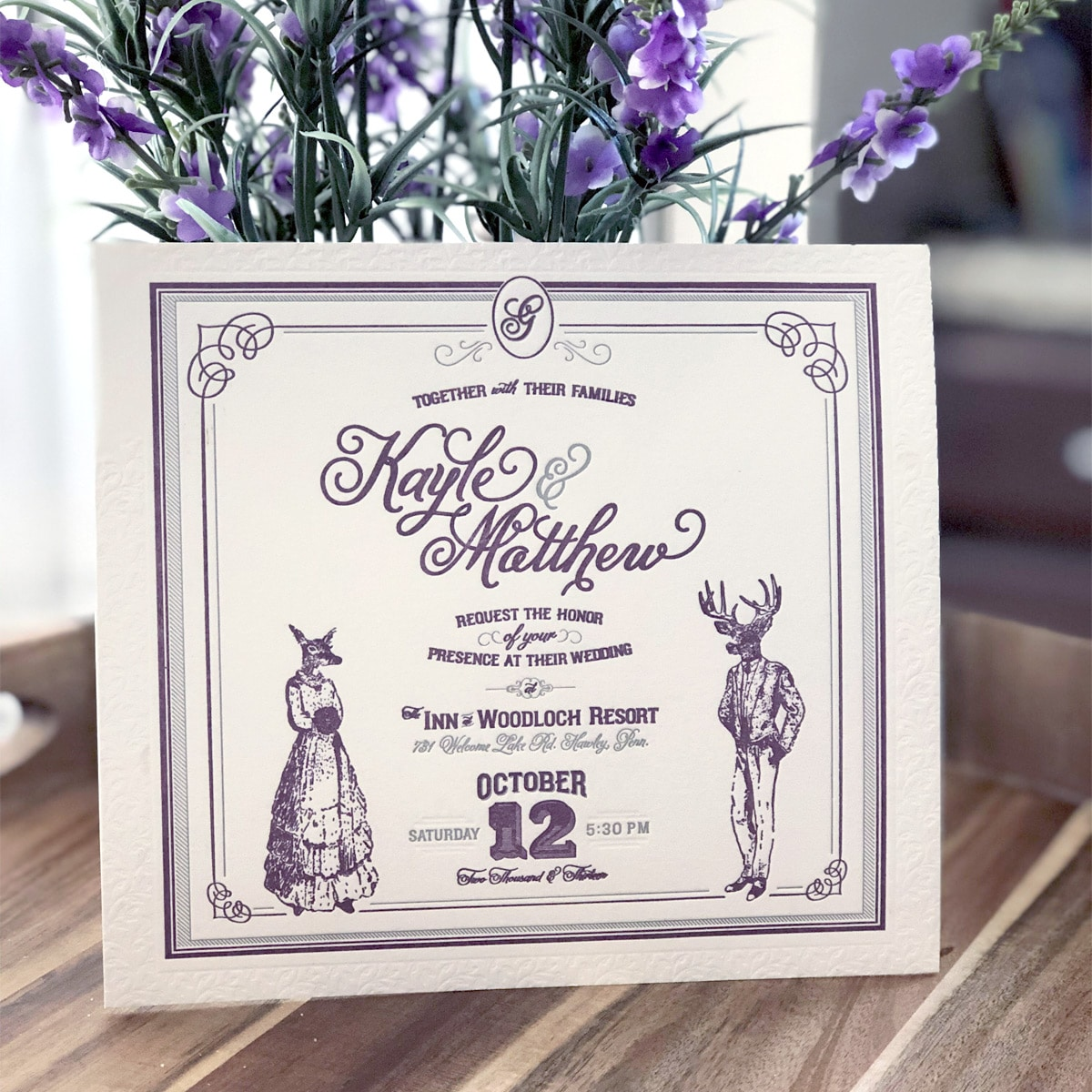raleigh graphic designer retro vintage wedding invitation design